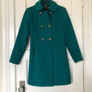 Dark turquoise emerald green pea coat jacket
